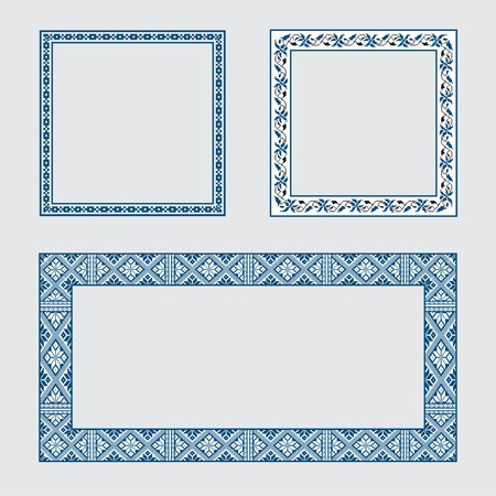 set square: Set square frame ornamental ethnic. Vector illustration. From collection of Balto-Slavic ornaments