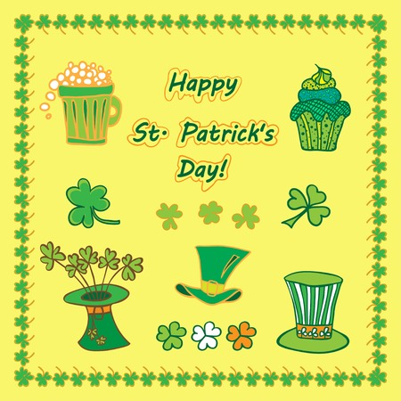 17th march: Set Irish st patrick day pattern with flat symbols of the holiday  in different colors. Vector illustration. Best your design, advertising, textile, print