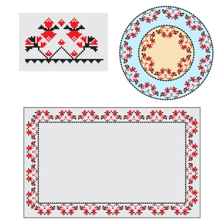 polish lithuanian: Set of Ethnic ornament pattern brushes and examples of use . Vector illustration. From collection of Balto-Slavic ornaments