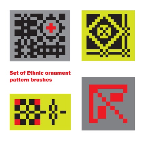 Set of Ethnic ornament pattern brushes and examples of use . Vector illustration. From collection of Balto-Slavic ornaments Vector