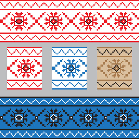belorussian: Set of Ethnic ornament pattern in different colors. Vector illustration. From collection of Balto-Slavic ornaments Illustration