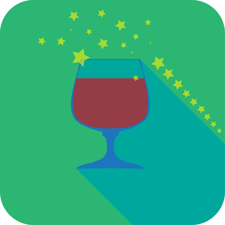 cognac: Glass cognac flat design stylized vector party drink icon, The best for your design, flyers, coasters, prints