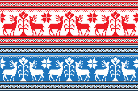 Set of Ethnic holiday ornament pattern in different colors. Vector illustration. From collection of Balto-Slavic ornaments Vector