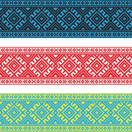 異なる色で民族の装飾パターンのセットです。ベクトル イラスト。バルト ・ スラブ語の装飾のコレクションから  イラスト・ベクター素材