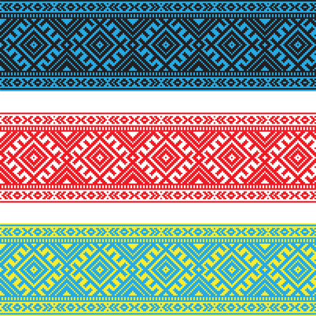Set of Ethnic ornament pattern in different colors. Vector illustration. From collection of Balto-Slavic ornaments Vettoriali