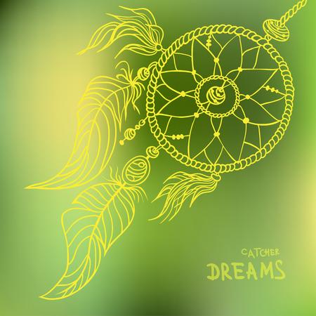 Boho style dreamcatcher on blurred background. Best for party invitation, boho shop card, textile, print. Vector illustration Illustration