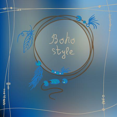print shop: Boho style frame background. Best for party invitation, boho shop card, textile, print. Vector illustration