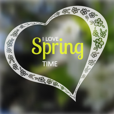 blurring: Lacy silhouette of heart with hand drown spring flowers and text. Blurring background. Vector illustration. Best for greeting cards, invitations, posters Illustration