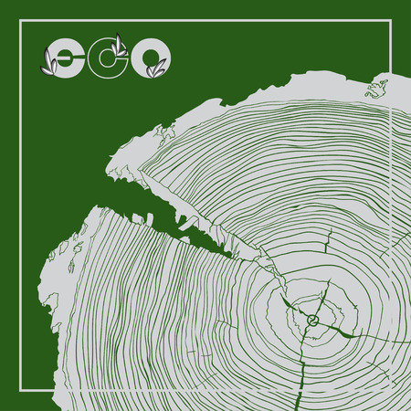 cross section of tree: ECO poster with logo and Annual tree growth rings, grayscale drawing cross-section. Vector illustration