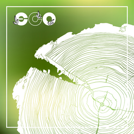 tree cross section: ECO poster with logo and Annual tree growth rings, grayscale drawing of cross-section on blurred background. Vector illustration Illustration
