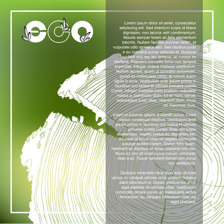 tree cross section: ECO poster with Annual tree growth rings, grayscale drawing of cross-section on blurred background and place for text. Vector illustration