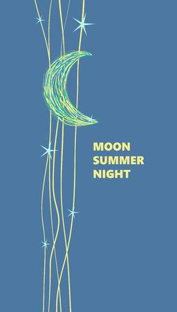 noche y luna: Luna y las estrellas, cartel publicitario, estilo de dibujos animados. Ilustración del vector. Lo mejor para tus banners web, postal, textiles, invitaciones Vectores