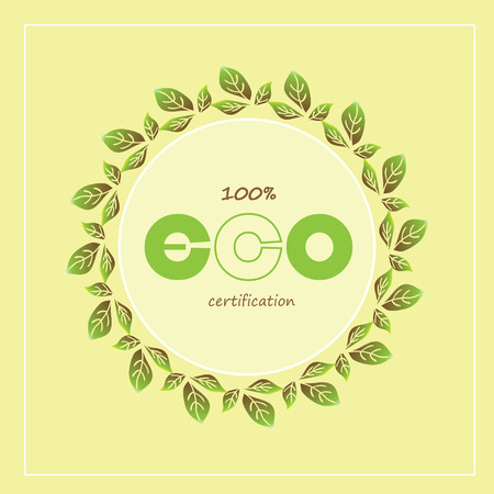 Green eco labels and badges. Vector illustration. Best for web banners, postcards, advertising, logo