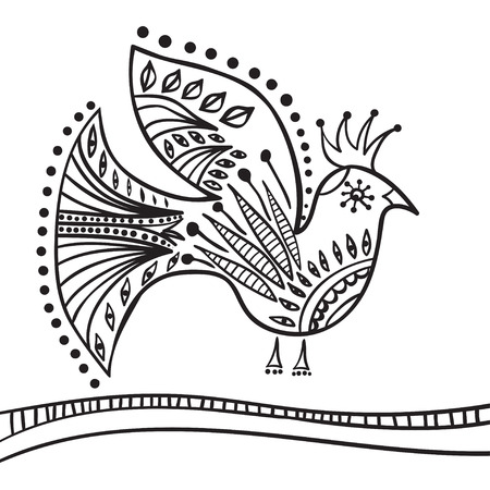 Hand drawing zentangle element. Decorative, abstract bird. Black and white. Vector illustration