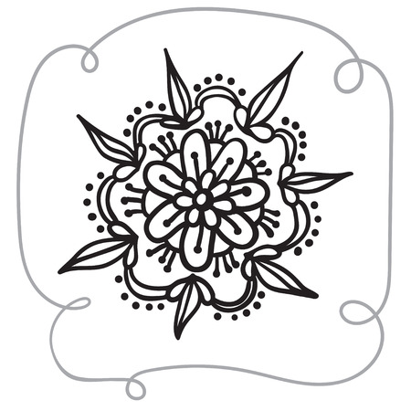 Hand drawing zentangle element with decorative frame. Black and white. Flower mandala. Vector illustration