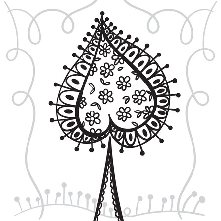 Hand drawing zentangle element with decorative frame. Black and white. Decorative abstract tree. Card spades. Vector illustration