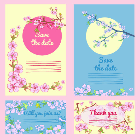 drown: Set of flowering hand drown cherry blossom card. Vintage background. Vector illustration. Best for invitations, textile, print, greeting card Illustration
