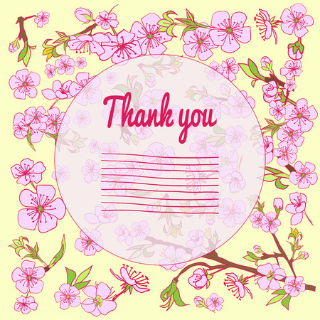 drown: Flowering hand drown cherry blossom card. Vintage background. Vector illustration. Best for invitations, textile, print, greeting card Illustration