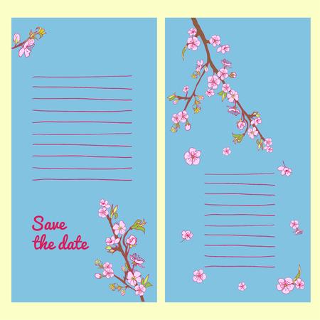 to drown: Conjunto de tarjeta de flor de cerezo en flor ahogan mano. Fondo de la vendimia. Ilustraci�n del vector. Mejor para las invitaciones, textil, impresi�n, tarjetas de felicitaci�n