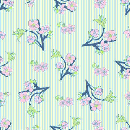 ahogarse: La mano se ahoga Floración cerezo en flor sin fisuras. Fondo de la vendimia. Ilustración del vector. Mejor para las invitaciones, textil, impresión, tarjetas de felicitación