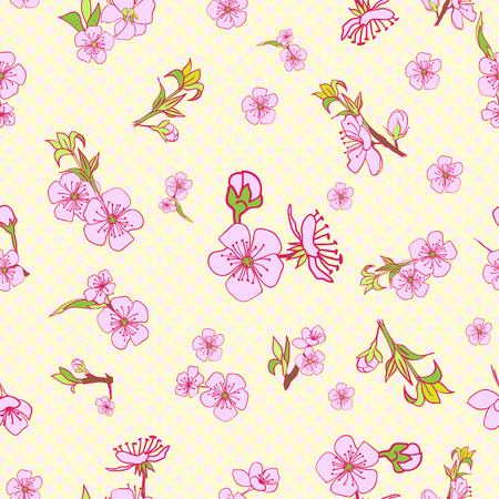 drown: Flowering hand drown cherry blossom seamless. Vintage background. Vector illustration. Best for invitations, textile, print, greeting card