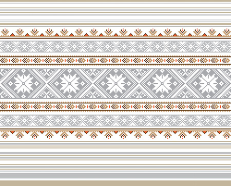 polish lithuanian: Set of Ethnic ornament pattern in different colors. Vector illustration. From collection of Balto-Slavic ornaments Illustration