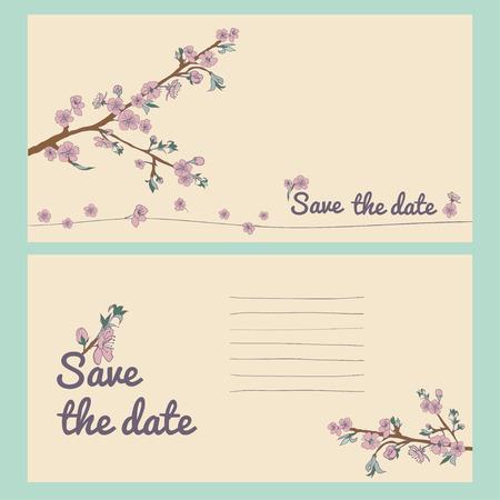 ahogarse: Conjunto de tarjeta de flor de cerezo en flor ahogan mano. Fondo de la vendimia. Ilustración del vector. Mejor para las invitaciones, textil, impresión, tarjetas de felicitación