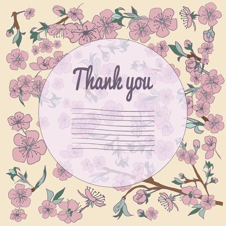ahogarse: Tarjeta Floración flor de cerezo la mano se ahoga. Fondo de la vendimia. Ilustración del vector. Mejor para las invitaciones, textil, impresión, tarjetas de felicitación