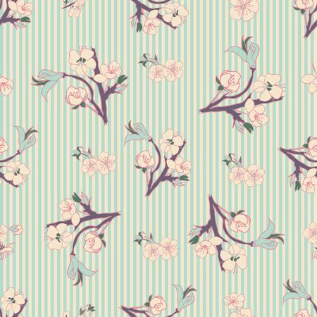 to drown: La mano se ahoga Floraci�n cerezo en flor sin fisuras. Fondo de la vendimia. Ilustraci�n del vector. Mejor para las invitaciones, textil, impresi�n, tarjetas de felicitaci�n