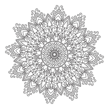 tatto: Hand drawing zentangle element. Black and white. Flower mandala. Vector illustration. The best for your design, textiles, posters, tattoos, corporate identity
