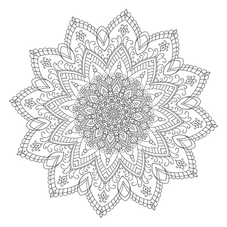 Hand drawing zentangle element. Black and white. Flower mandala. Vector illustration. The best for your design, textiles, posters, tattoos, corporate identity