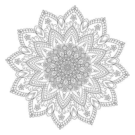 Disegno a mano elemento zentangle. Bianco e nero. Mandala Fiore. Illustrazione vettoriale. Il meglio per il vostro disegno, tessuti, manifesti, tatuaggi, corporate identity