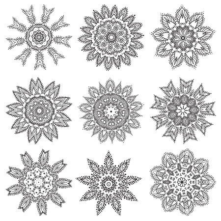 Set Hand drawing zentangle elements. Black and white. Flower mandala. Vector illustration. The best for your design, textiles, posters, tattoos, corporate identity