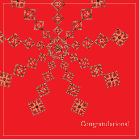 belorussian: Greeting card with ethnic ornament pattern in different colors on red background. Vector illustration. From collection of Balto-Slavic ornaments
