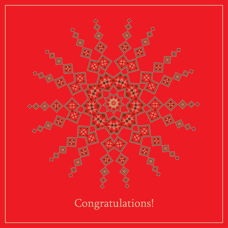 polish lithuanian: Greeting card with ethnic ornament pattern in different colors on red background. Vector illustration. From collection of Balto-Slavic ornaments