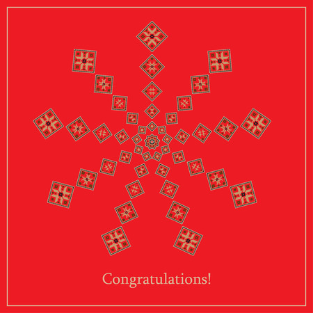 Greeting card with ethnic ornament pattern in different colors on red background. Vector illustration. From collection of Balto-Slavic ornaments