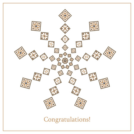 polish lithuanian: Greeting card with ethnic ornament pattern in different colors on white background. Vector illustration. From collection of Balto-Slavic ornaments