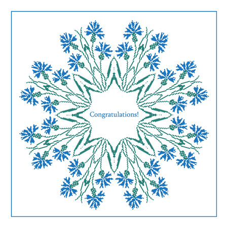 polish lithuanian: Greeting card with ethnic cornflower ornament pattern on white background. Vector illustration. From collection of Balto-Slavic ornaments