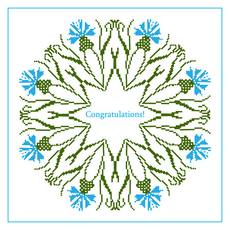 baltic: Greeting card with ethnic cornflower ornament pattern on white background. Vector illustration. From collection of Balto-Slavic ornaments