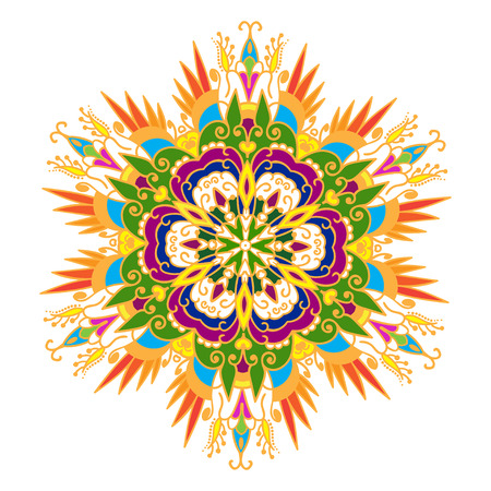 tatto: Hand drawing zentangle color element. Flower mandala. Vector illustration. The best for your design, textiles, posters, tattoos, corporate identity Illustration