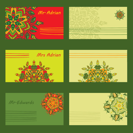 chinese postage stamp: Set simple design for holiday letters, invitations and envelopes with hand drawn mandalas zentangl in different colors. Vector llustration. The best for your design, textiles, posters, tattoos, corporate identity