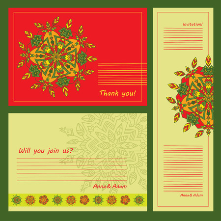 Set examples of mandalas. Zentangl circular hand-drawn pattern. The best design for a party, greeting cards, ornaments of mobile phones, textiles, prints, Wedding, Party Decoration