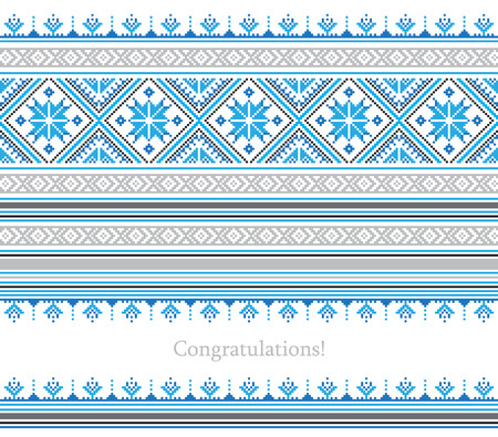 holiday ornament: Greeting card with ethnic ornament pattern in different colors on white background. Vector illustration. From collection of Balto-Slavic ornaments