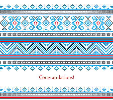belorussian: Greeting card with ethnic ornament pattern in different colors on white background. Vector illustration. From collection of Balto-Slavic ornaments