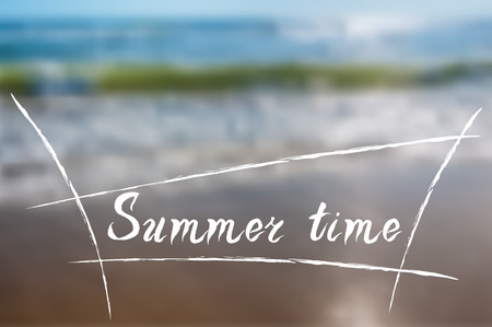 Summer, beach, blurred background with text summer vacation surfing. Vector illustration. Best for tourist brochures, invitations, postcard, web banner Vector