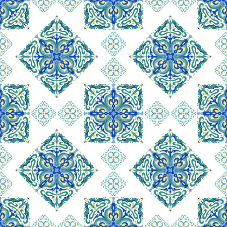 majolica: Hand drawing zentangle mandala color seamless pattern. Italian majolica style. Vector illustration. The best for your design, textiles, posters