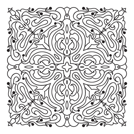 mandala vector: Hand drawing zentangle element. Italian majolica style Black and white. Flower mandala. Vector illustration. The best for your design, textiles, posters, tattoos, corporate identity Illustration