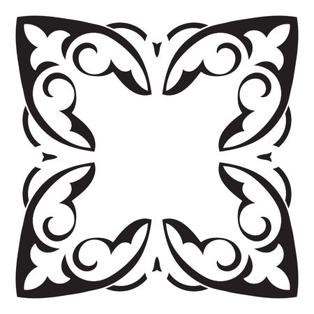 majolica: Hand drawing decorative tile frame. Italian majolica style Black and white. Vector illustration. The best for your design, textiles, posters, tattoos, corporate identity