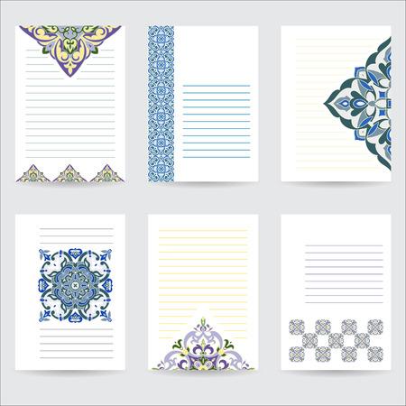 arabische letters: Stel template hand tekening zentangle kleur mandala in Italiaanse majolica stijl voor uw ontwerp brieven, kaarten, uitnodigingen Vector illustratie