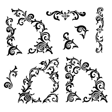 Set of Hand drawing ornamental decorative elements. Carving style Black and white The best for your design, textiles, posters, tattoos, corporate identity